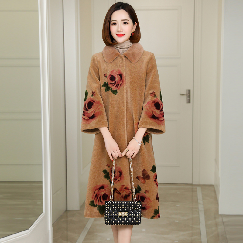 Women Coat Winter Sheep Shearling Real Fur Coat Female Mink Fur Collar Wool Coats Print Long Jacket Manteau Femme MY4261 S