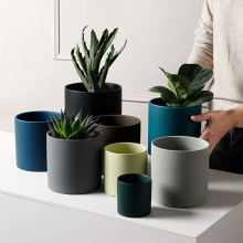 Nordic Industrial Style Colorful Ceramic Flowerpot Succulent Planter Green Plants Cylindrical Shape Flower Pot With Hole Tray