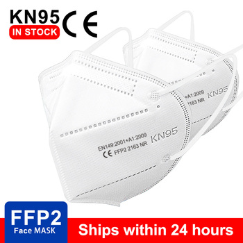 White FFP2 mask KN95 masks facial maske protective dustproof mouth mask filtration 5 layers Earloop Masks Nonwoven in stock