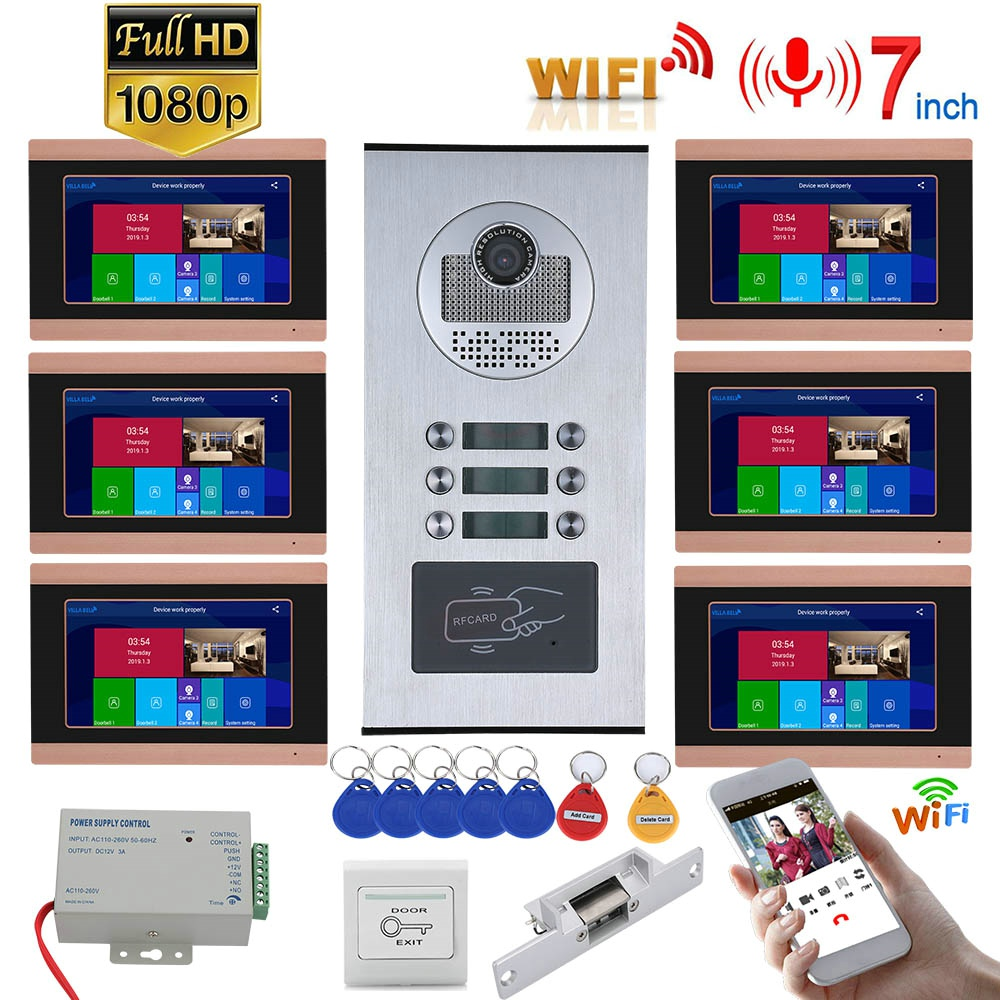 6 Unit Apartment APP Remote Control 7 Inch Monitor Wifi Wireless Video Door Phone Doorbell Intercom 1080P RFID Camera System