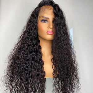 Image 4 - Brezilyalı 13x4 dantel ön İnsan saç peruk ön koparıp bebek saç ile derin dalga kısa su kıvırcık Frontal peruk siyah kadınlar için