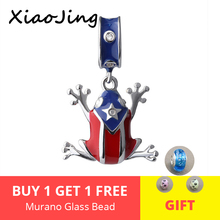 Aliexpress 925 Silver charms cute frog Beads with blue and red enamel Fit original pandora Bracelets Pendant diy Jewelry Gifts