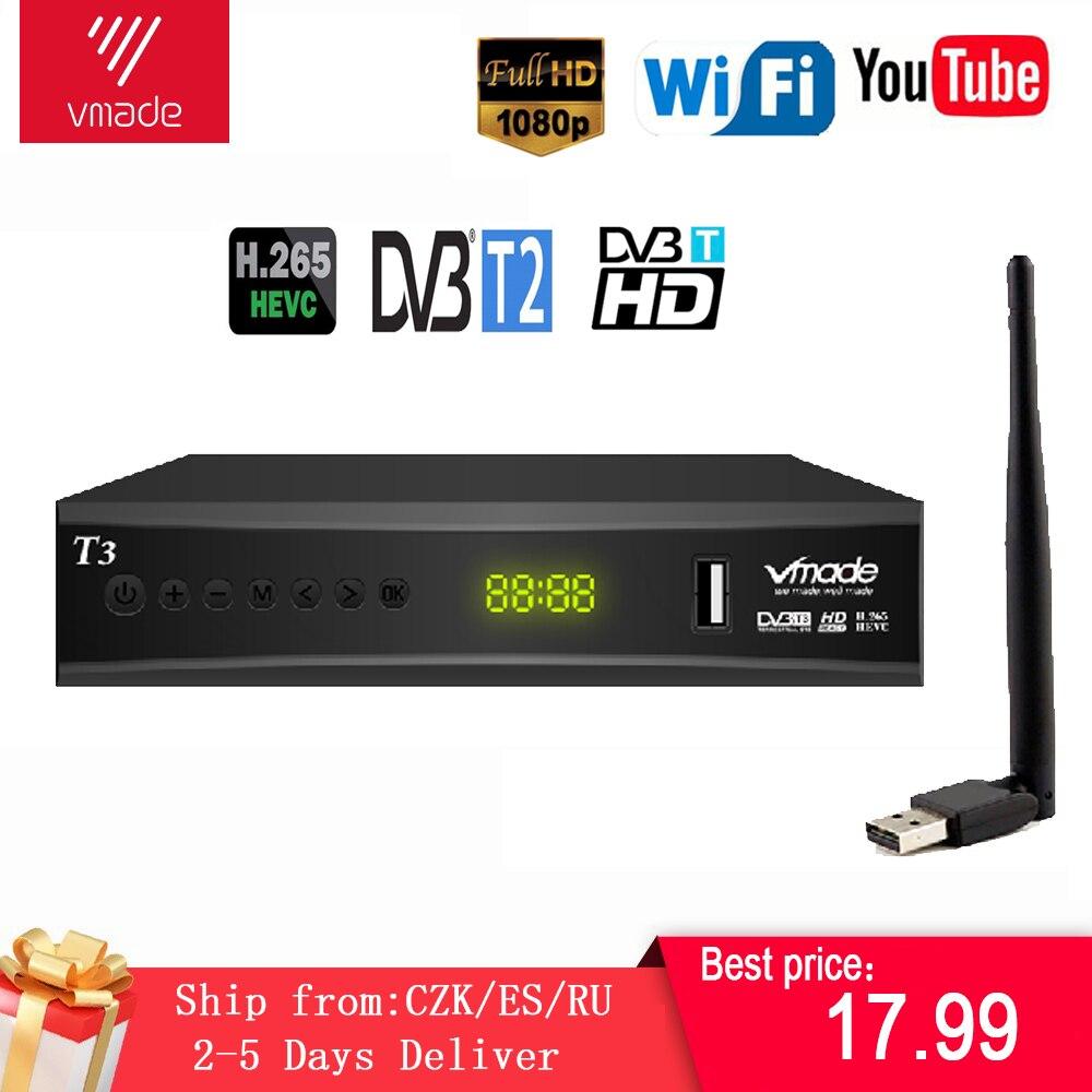 Récepteur TV numérique, récepteur TV HD, Tuner TV numérique, récepteur DVB T2 H.265, boîtier portable pour DVBT2 en russe