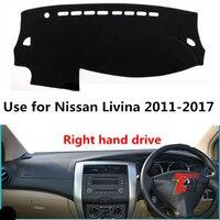 Taijs Rechterhand Drive Auto Dashboard Cover Voor Nissan Livina 2007-2017 Polyster Fiber Creatieve Dashboard Pad Voor Livina 07-17
