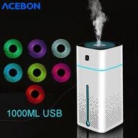 1000ml usb portátil humidificadores de ar aroma difusor óleo atomizador ultra sônico umidificador aromaterapia capacidade do carro escritório em casa|Umidificadores|Eletrodomésticos -