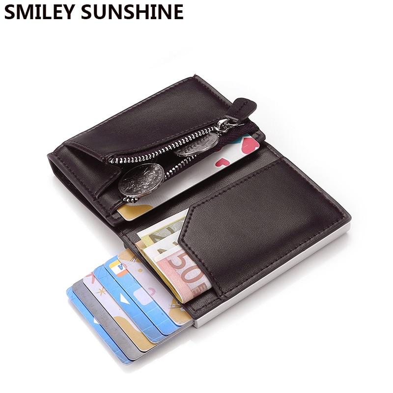 Genuine Leather Rfid Credit Card Holder Men Wallet Money Bag Purse Luxury Brand Male Black Short Smart Mini Wallet Slim Walet