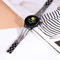 Frau Uhr Band für Samsung Galaxy Uhr 3 42mm Aktive/active2 Metall Strap 20mm für Getriebe Sport s2 Klassische Armband Bling Schwarz