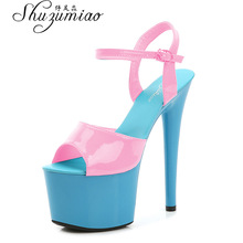 Stripper Heels Women Shoes 2020 Summer Platform High Heels Sandals Thin-heeled 17cm Mixed Colors Sexy Waterproof  Wedding shoe