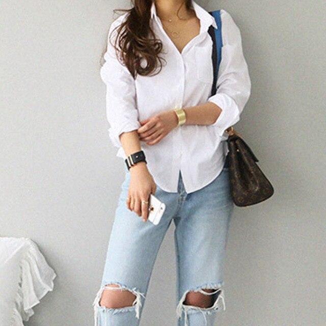 Turn-Down Collar White Loose Long Sleeve Blouse 4