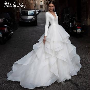 Adoly Mey Vintage Scoop Neck Long Sleeve A-Line Wedding Dresses 2020 Graceful Ruffles Organza Court Train Princess Wedding Gown