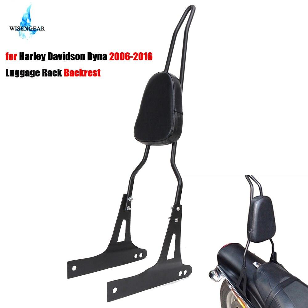 Motorcycle Detachable Passenger Backrest Sissy Bar Rear Cushion Pad Luggage Rack For Harley Davidson Dyna Street Bob 2006-2016