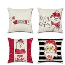 Christmas Santa Claus Cute Dog Pillowcase Home Decor Cushion Cover Funda Cojin Housse de Coussin Cojines Pillow Case Covers