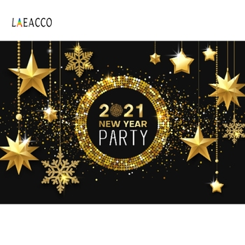 Laeacco 2021 Christmas New Year Golden Polka Dots Glitter Star Party Poster Photo Backdrops Photography Background Studio