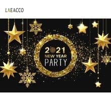 Laeacco 2021 Рождество Новый год Золотой горошек блестящие звезды