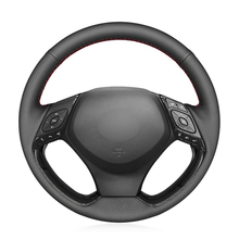 Hand Sew Black PU Artificial Leather Car Steering Wheel Cover for Toyota C HR CHR 2016 2017 2018 2019 2020