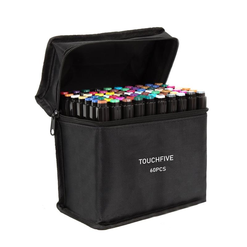 Touchfive 30/40/60/80/168 cores arte marcadores álcool óleo tinta dupla escova caneta manga esboço estudante desenho arte suprimentos para o artista
