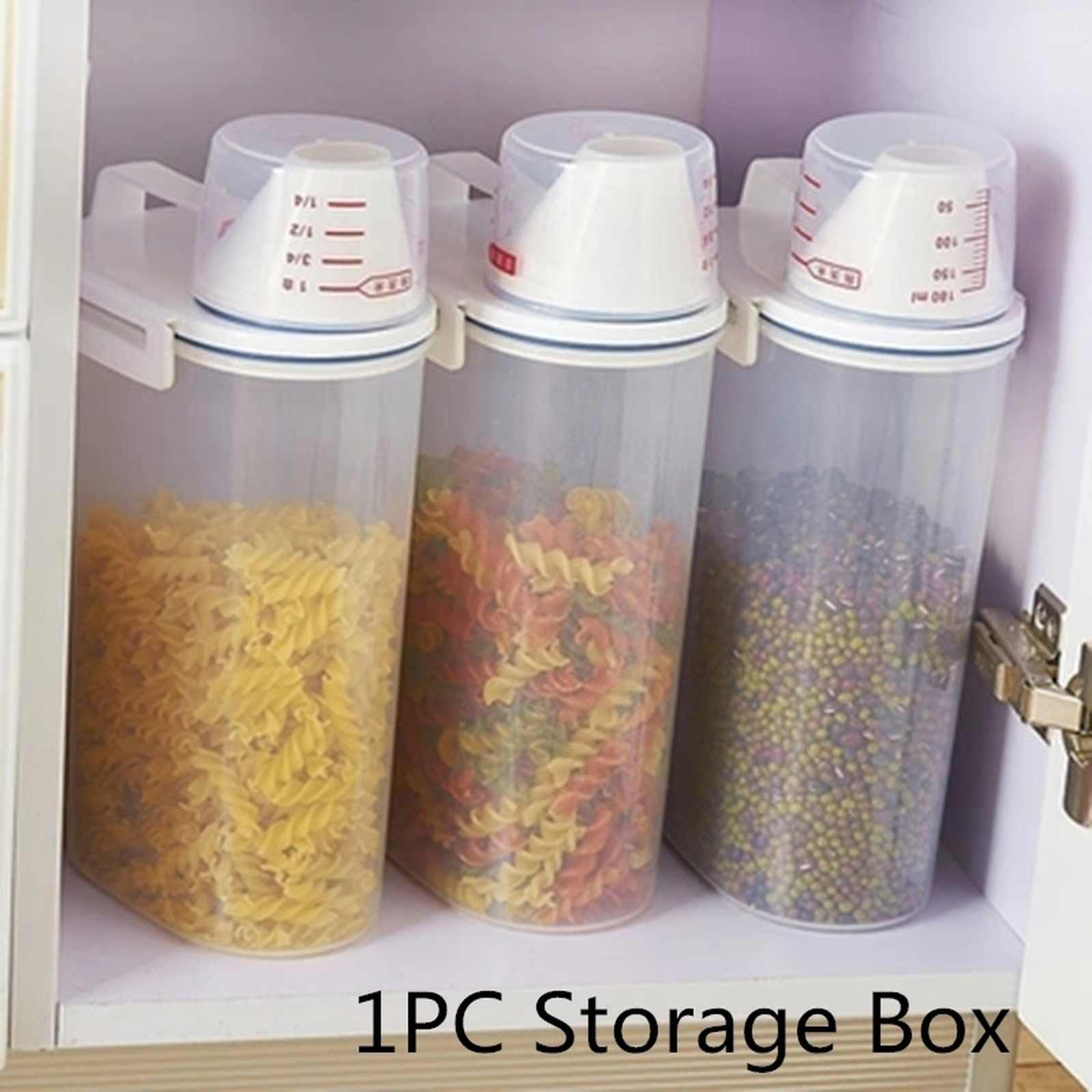 1PC 2L Plastic Sugar Coffee Pasta Cereal Dispenser Storage Box Locking Clear Food Jars Grain Rice Container Kitchen Pots 2kg