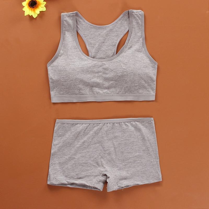Cotton Bra Set for Teens Training Bras Girls Underwear Set for Teenagers Puberty Girls Underwear Wireless Bra+Underpants Solid 3