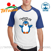 Camisetas Tatooine Cutest pingüino aprendiendo a volar para hombres, camiseta chibi con estampado de animales de pingüinos Kawaii, camiseta divertida I Believe I can fly