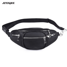цена на Female Bag Multi Pocket Waist Bag Pure Color Banana Bag Mini Fanny Pack Metal Chain Waist Pack Women's Belt Bag