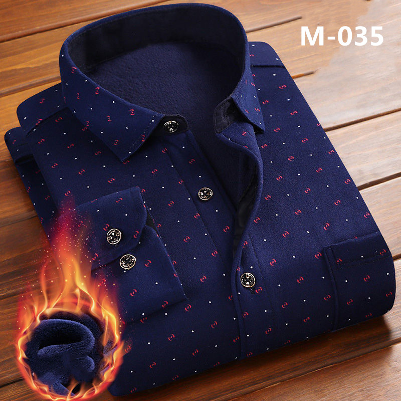 New Fashion Men's Winter Long Sleeve Dress Shirt Plaid Warm Thick Velvet Fleece Shirts For Men Soft Flannel Camisa Masculina 4XL