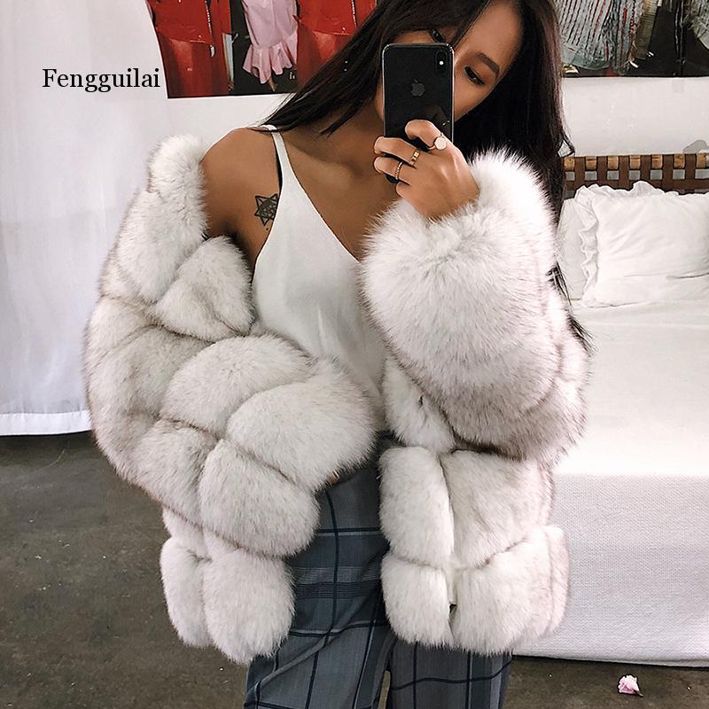 Large Sizes Elegant Faux Fur Coat Jacket Women New Styles Thick Winter Outerwear Imitation Ladies Fox Fur Jackets Coats
