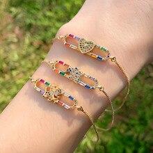 TOTABC Luxury Shaped Zircon Large Heart Bracelet Bridal Wedding Gift Slider Chain CZ Crystal Charm Bracelets for Women Jewelry цена 2017
