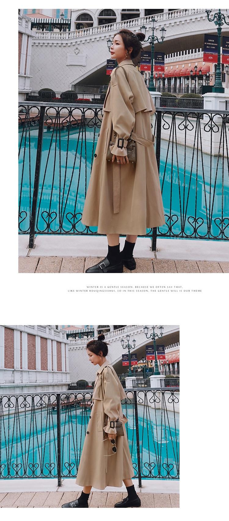 Hc84f0ac33b0e4a61b23d56ea782d3b7eA 2021 Autumn Women Trench Coat With Belt Women Clothes Blue Coat Casaco Feminino Harajuku Abrigo Mujer Long Trench Femme