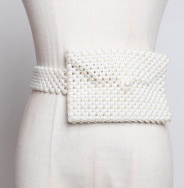 Women's Runway Fashion Pearl Knitted Elastic Cummerbunds Female Dress Coat Corsets Waistband Belts Decoration Wide Belt R1757