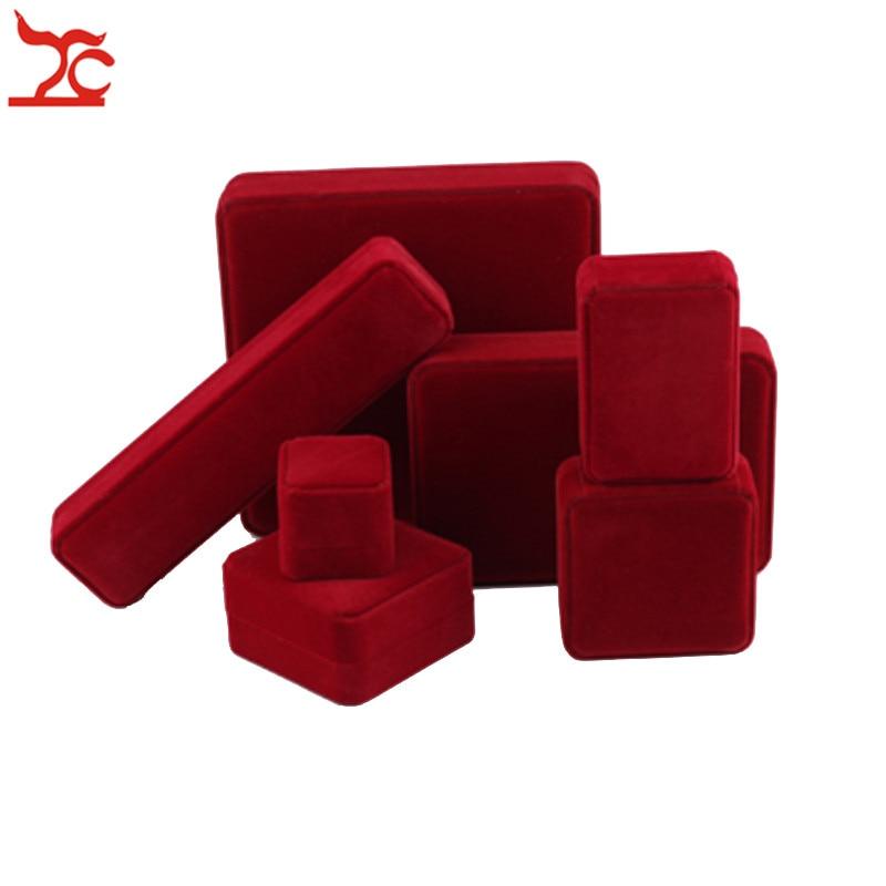 Amazing Jujube Red Wedding Ring  Jewelry Box Velvet Earring Box Pendant Bracelet Storage Organizer Case Pearl Necklace Gift Box