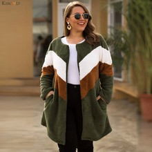 KANCOOLD coats Women Plus Size O-neck Contrast Color Stitching Cardigan Zipper Loose Plush new coats and jackets women 2019Oct9(China)