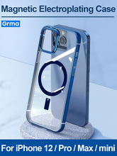 GRMA Original Magnetic Transparent Clear Back Cover for iPhone 12 Pro Max 12 mini Case Hard Plating Shockproof Phone Cover