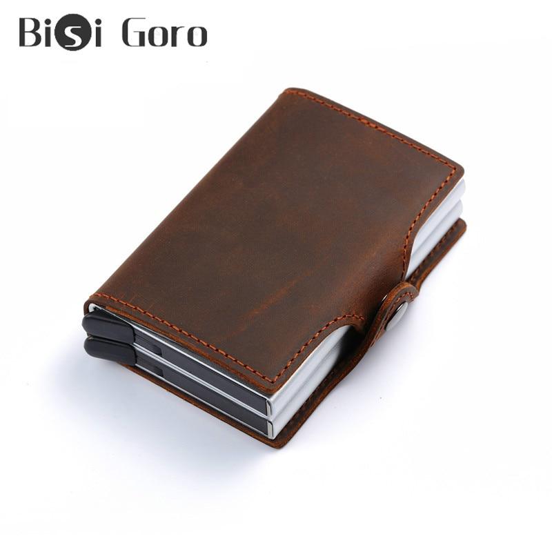 BISI GORO Crazy Horse Genuine Leather Men Wallet Money Bag Rfid Card Mini Slim Male Metal Smart Small Thin Purses