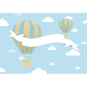 Image 5 - Funnytree熱気球背景写真撮影飛行機クマ冒険1st誕生の背景ベビーシャワー少年パーティーの装飾ビニール