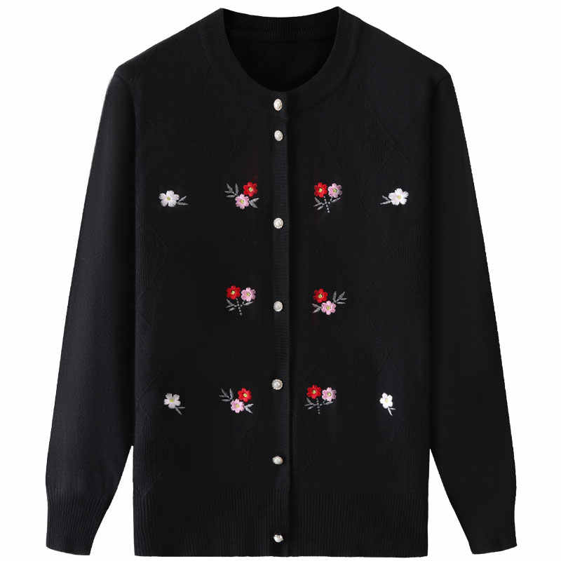 봄 가을 자 켓 니트 스웨터 여성 셔츠 코트 2020 패션 카디 건 플러스 크기 니트 탑 느슨한 자 수 스웨터 1739