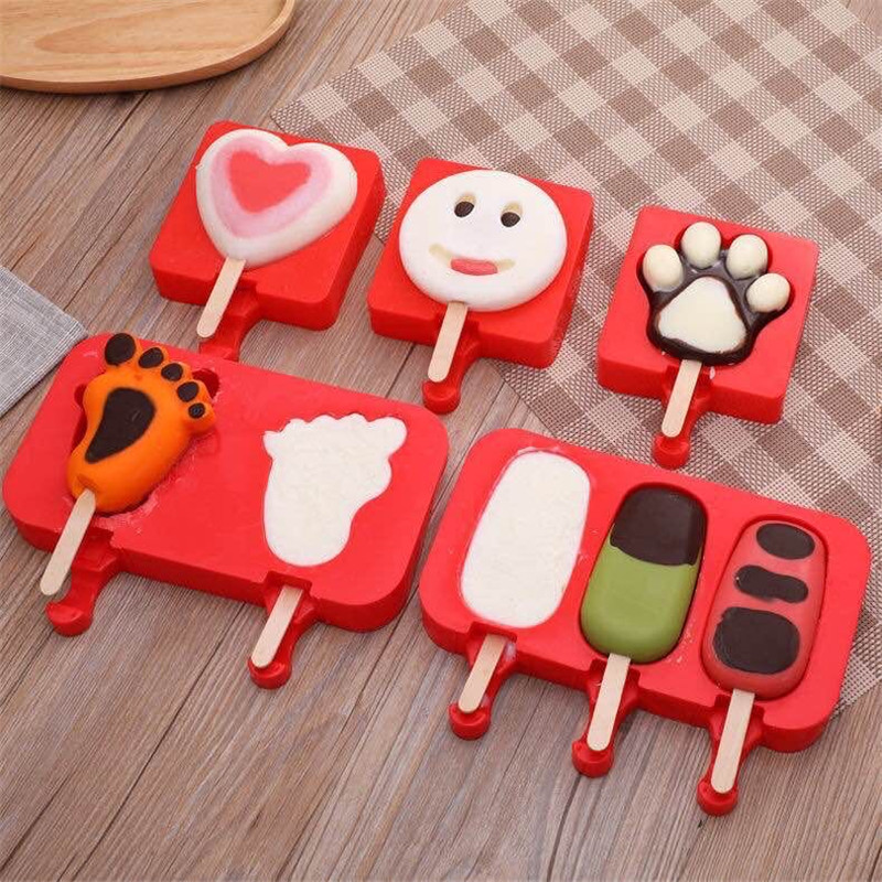 2020 Summer New Reusable Silicone Ice Cream Mold With Lid Popsicle Molds DIY Homemade Cartoon Ice Pop Maker Mould Kids Toys