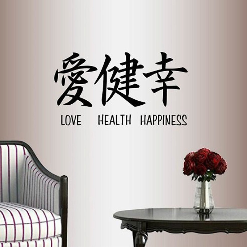 Wall Vinyl Mural Decal-Art-Sticker Removable Lettering Japanese 2250 Words Kanji Happiness