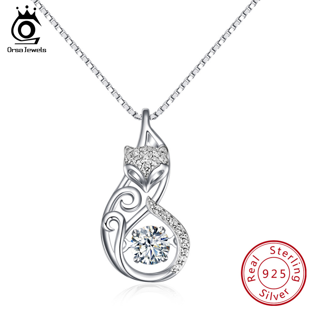 ORSA JEWELS Cute 925 Silver Fox Pedant Necklaces Insert 1ct Movable Charm Cubic Zirconia Sterling Silver Necklace Jewelry SN53 necklace jewelry sterling silver necklace silver necklace - title=