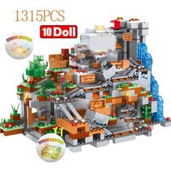 1315 шт совместимые с My World строительные блоки горные пещеры деревня фигурки модуль Кирпичи игрушки для детей