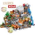 1315 шт. совместимый мой мир строительные блоки горный пещера деревня цифры модуль Кирпичи игрушки для детей