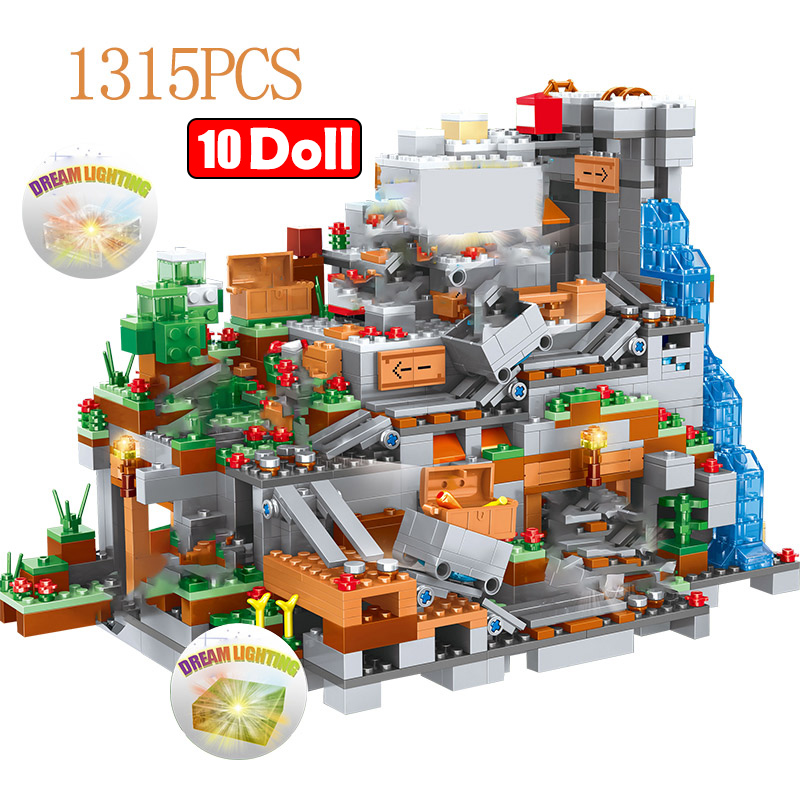 1315PCS My World Building Blocks Compatible LegoINGLY Mountain Cave  Village Figures Module Bricks Toys For Children