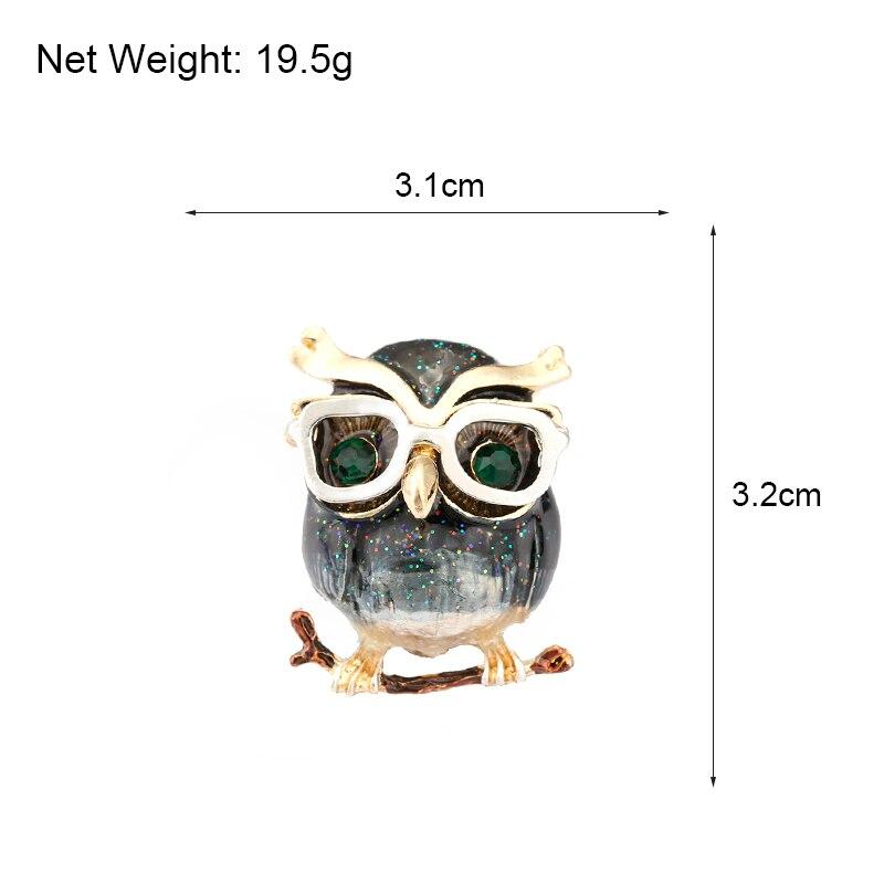 H350157X 滴油 猫头鹰 带 珍珠 胸针 (13)