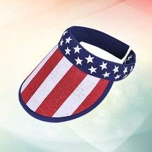 Flag-Cap Visor Fashion Summer Empty-Hat Outdoor-Accessories Sunhat Vocation American