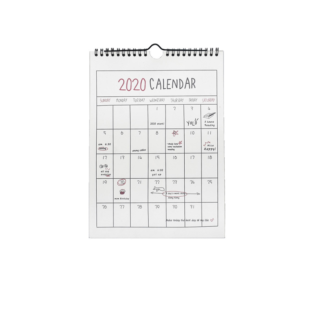2020 Paper Home Annual Planner Hand Drawing Cartoon 365 Days Wall Calendar Organizer Desktop Daily Schedule Hanging Monthly 1 Pc