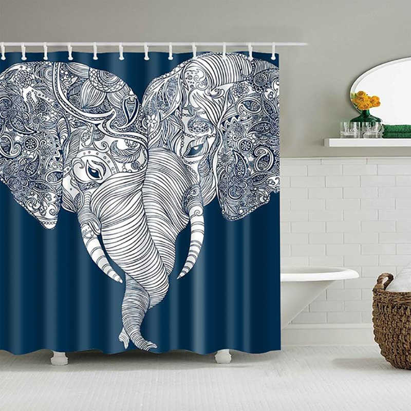 Fabric 3D Elephant Waterproof Bathroom Shower Curtain Panel 12 Hooks 180*180cm