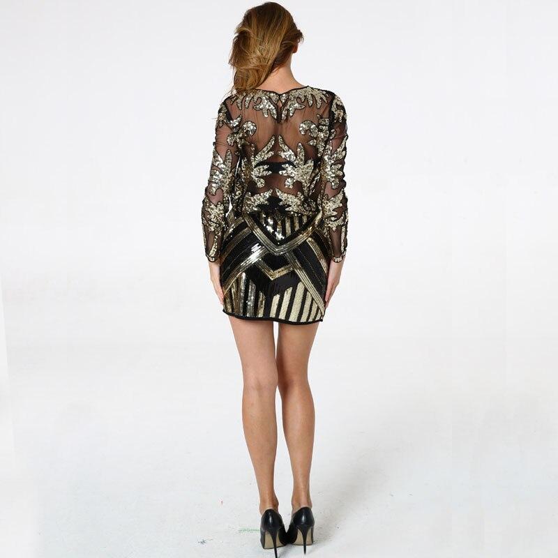 BLINGSTORY élégant Sequin perle maille à manches longues chemise Vintage diamant broderie embelli Blouse Top femmes chemises KR204 - 2