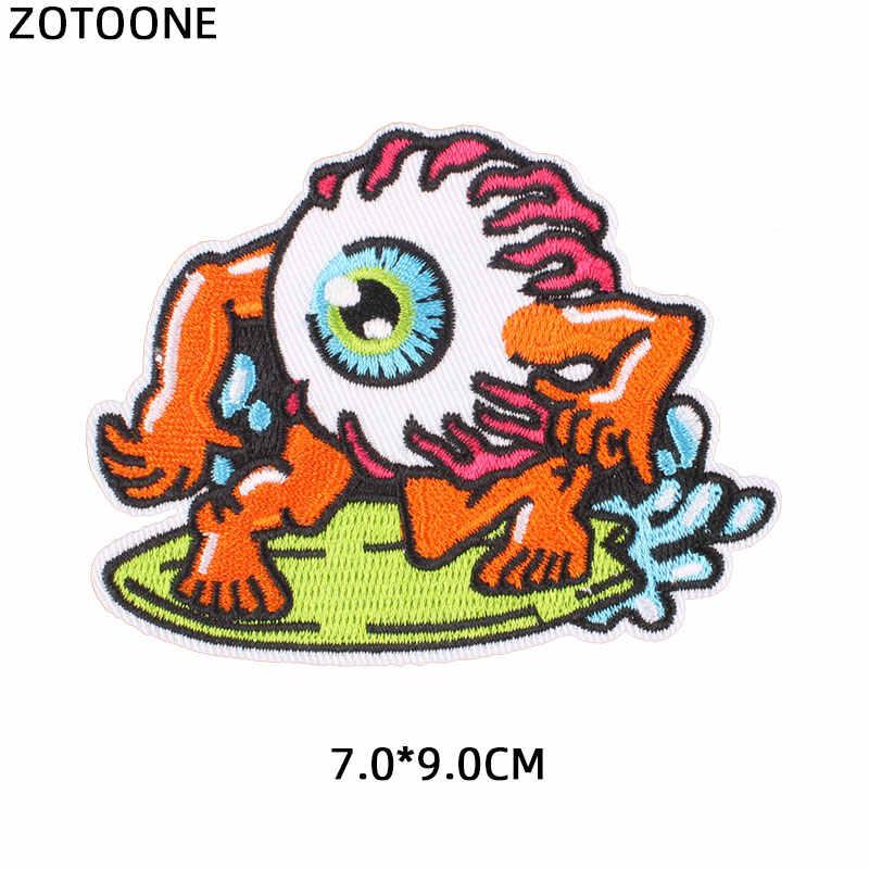Zotoone Ferro su Alien Patch di Dito per Abbigliamento Cucire Sul Trasferimento di Calore Gatto Adesivi di Pesce Ricamato Applicazioni Fai da Te Tessuto G