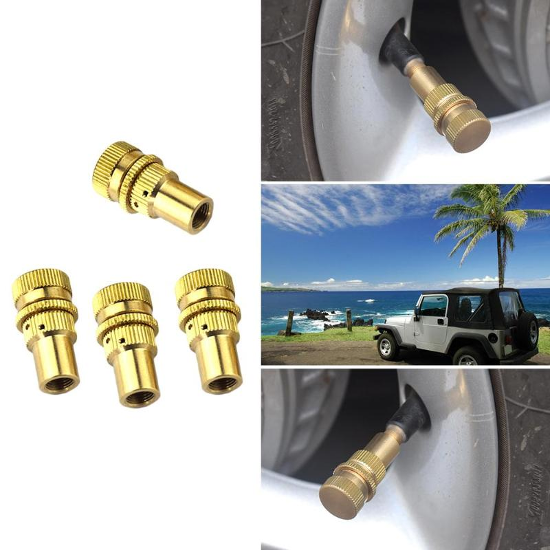 4pcs Tire Deflators Brass 4WD Off-road Automatic 6-30PSI Tyre Air Deflators Adapter Valve Core Tool For Schrader Valve Gold