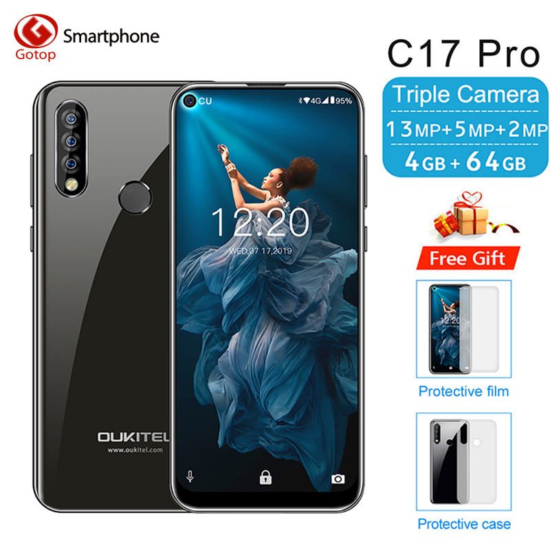 """OUKITEL C17 Pro 6.35"""" 19:9 Android 9.0 Mobile Phone MT6763 Octa Core 4G RAM 64G ROM Face ID 4G  LTE 3900mAh Battery Smartphone"""