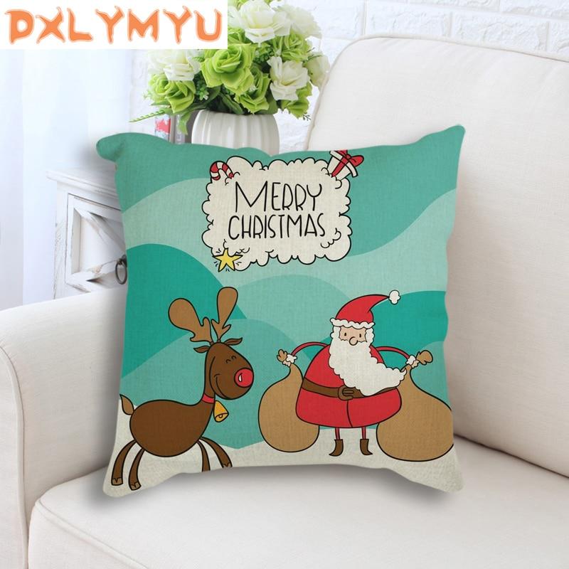 Square Sofa Bed Linen Cotton Pillowcase Cartoon Santa Claus Printed Modern Xmas Throw Pillow Christmas Seat Cushion